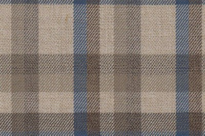 Beige with blue & brown check